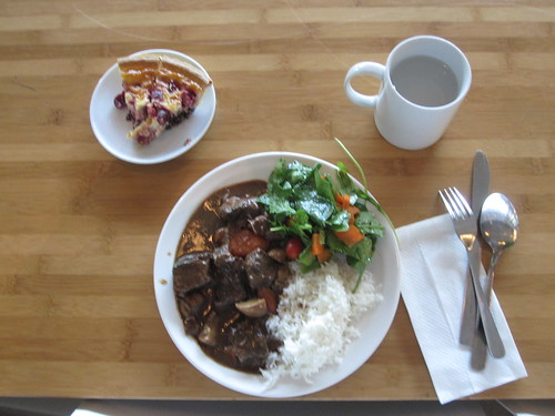 Boeuf bourguignon, rice, salad, cherry flan pie - $6