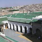 Fès: Vue panoramique  de la mosquée Quaraouiyine