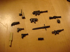 Brickarms prototypes (Arcon.) Tags: modern lego wwii off cricket shotgun smg weapons carbine claymore luger m1a1 sawn bayonets ppsh brickarms hcsr
