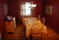 Our dining room set for Thanksgiving dinner
