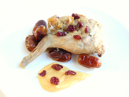 Rabbit with quince compote
