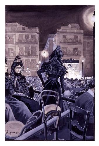 I.E.A. 15 ABRIL 1900 - 1.º N.º XIV. Pág. 224. LA SEMANA SANTA EN SEVILLA.- EN LA PLAZA DE SAN FRANCISCO- DIBUJO DE AZPIAZU
