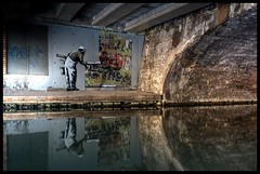 Banksy - 'Graffiti Wallpaper' (Romany WG) Tags: street urban london art graffiti canal stencil outsider tag banksy tags 2009 regents impressedbeauty