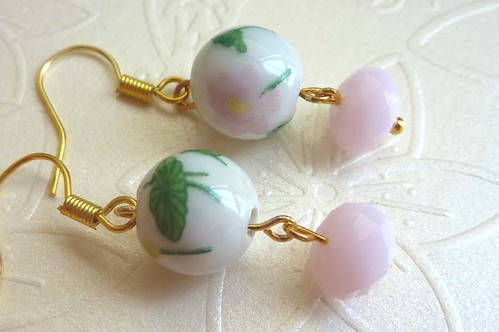 Earrings - Oriental-Styled Lotus Flower Porcelain Bead paired with Matte Pink Swarovski Crystals