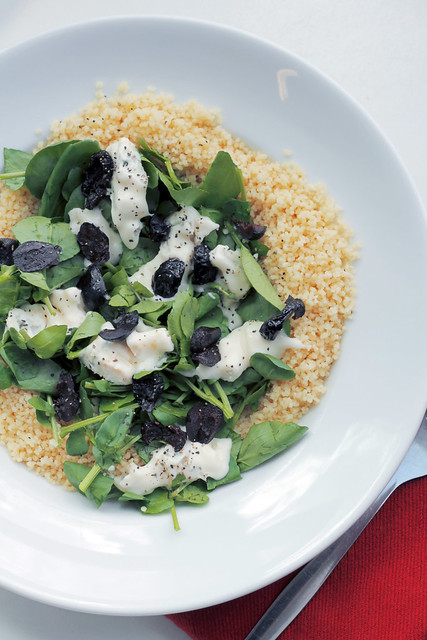 Gorgonzola, Watercress and Black Olives Couscous