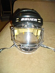 Helmet with old face protector