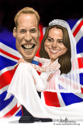 Prince William and Kate Middleton digital caricature
