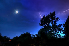 New Moon - Before the Storm (Moniza*) Tags: longexposure blue sky moon storm nature silhouette night clouds landscape twilight nikon luna explore hour lightning thunder d90 explored moniza