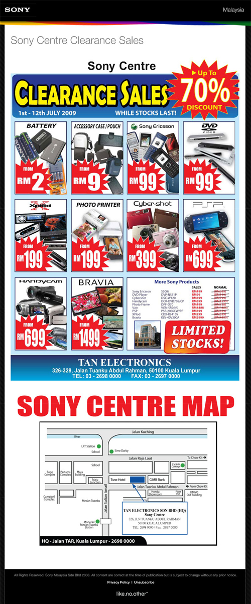 Sony Centre Clearance Sales – 70%