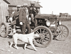 Three Men, a Bull Dog and a Model T (newmexico51) Tags: ranch old dog man men vintage photo foto boots antique coat wheels goggles bulldog cap photograph youngman modelt crank threemen