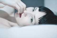 att vara nra 1 (jannike viveka) Tags: morning woman girl bed biting nails