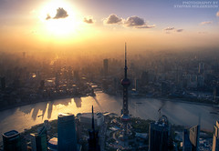 boom (staffh) Tags: china sunset sun skyline clouds skyscraper river twilight skyscrapers shanghai dusk magic towers hour pearl   oriental pudong shanghaiist highrises huangpu puxi   nusps