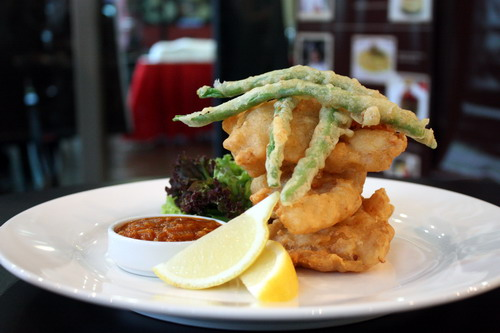 Zen Star Chef Fish Tempura & Beans serve with Pumpkin Curry Dip by Emil Farez