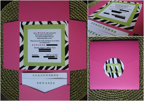 cardstock and zebra accents mexico Wedding Announcement Shades of