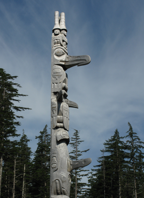 the Unity Pole on a nice day, Kasaan, Alaska