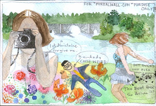 Watercolour mailart from Ubon - August 2009: Elena at Blenheim Palace