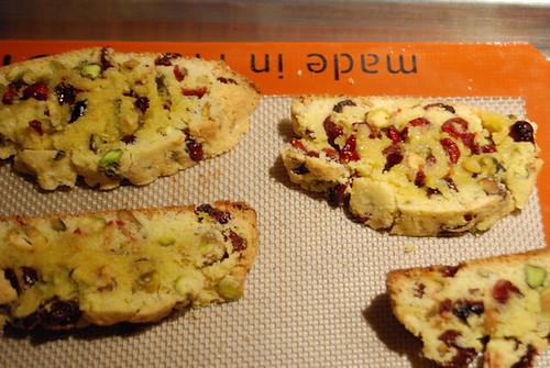 Cranberry-Pistachio Cornmeal Biscotti, demi-baked