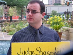 Protesting at Trial of Sharon Keller