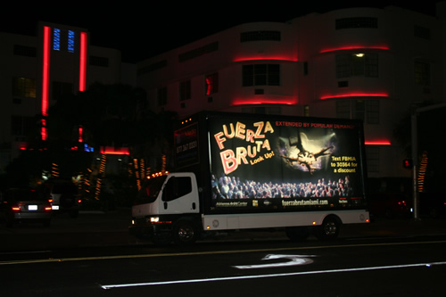 Go Media Marketing Fuerza Bruta Mobile Billboard with Interactive Text Messaging