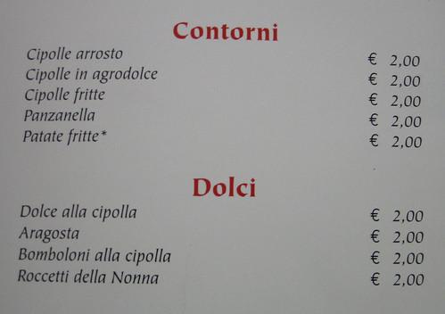 Cannara menu - contorni e dolci