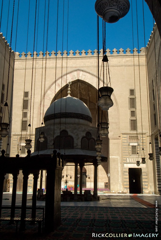 'Sultan Hassan' (The Sultan Hassan Mosque, Cairo):  The central square is impressive while prayer alcoves offer a cool, calm, and inspirational setting for worship.