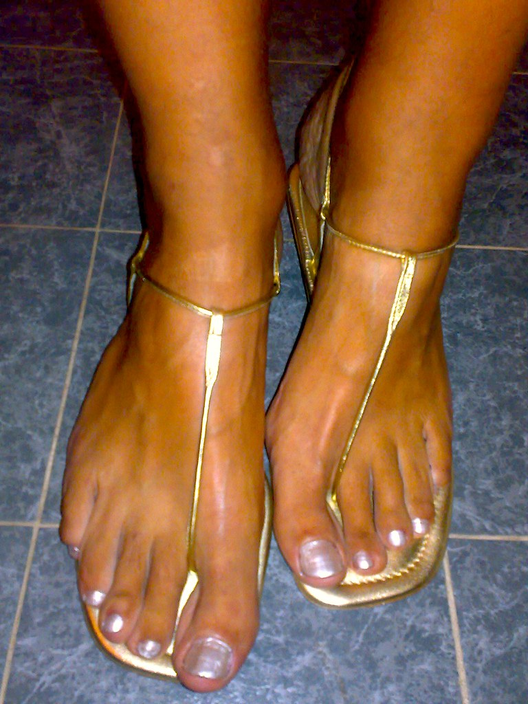 Gold Thong Sandals