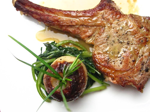 roasted veal chop, roasted turnip and dandelion greens
