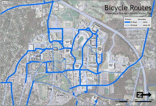 UMCP Primary and Secondary Bicycle Routes