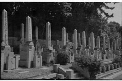 Line of graves () Tags: blackandwhite bw japan iso100 kodak cemetary 127 diafine brownie nishinomiya yellowfilter efke 4x6 frame3 brownie127
