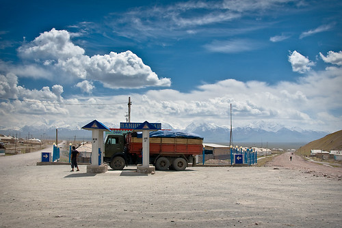 The Pamir Highway at Sary Tash; the last petrol station for a very long way.