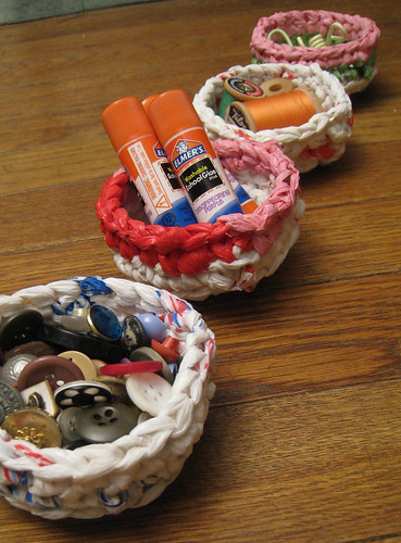 Recycled Plastic Bag Mini Basket Organizers