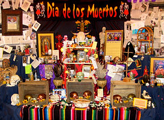 2009 Dia de los Muertos Community Altar, Bloomington Indiana (Michael Redman) Tags: holiday dayofthedead mexico skull community indiana altar diadelosmuertos bloomington remembrance tacomaartmuseum michaelredman