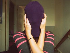 Hiding. (JemmaJusticePhotography.) Tags: pink england colour art hat newcastle photography grey weird justice mood sad purple arms stripe hide tired jemma jemmysaur jemmaammej