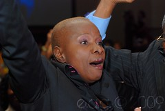 Angelique Kidjo huging a fan
