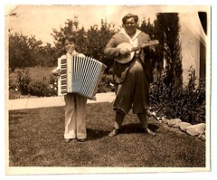 lollapalooza (changoblanco) Tags: bw music boys yard vintage found photo fat short accordian 30s banjomandolin banjola