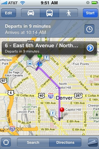 iPhone Maps Transit information