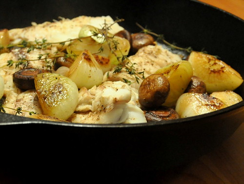 Cast Iron Skillet-Seared Cod with Mushrooms