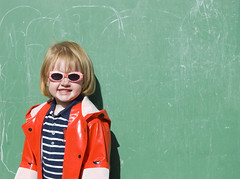 red raincoat (Section 45) Tags: old school red green girl smile sunglasses chalk kid toddler child 5 five board year