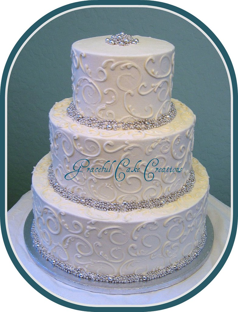 Silver Dragees And Scrolls Wedding Cake Graceful Creations Tags Party Classic