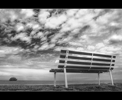 My thoughts are with you (t2psalm) Tags: sea bw blancoynegro clouds photoshop bench relax mono blackwhite zen islet hdr unwind monchrome photomatix easeup canoneos450d hotonflickr samcorros t2psalm hdrlabscom
