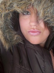 Snow Bunny (misscherry_girl) Tags: pink winter brown snow eye face fur lips jacket
