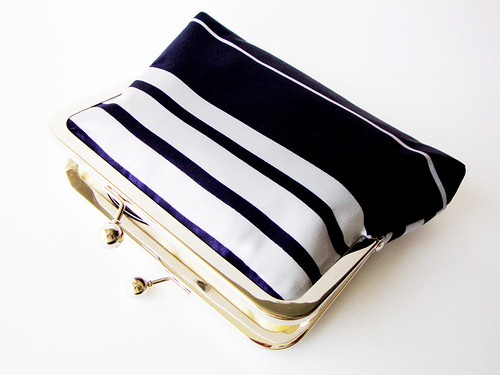 Dark Navy and Blue Silver Striped Trendy Clutch- Lined in Silk