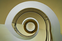 UK - Bexhill - De La Warr Pavilion Spiral (Darrell Godliman) Tags: travel light building travelling eye yellow architecture buildings spiral arquitectura colorful stair perspective twist lookingup architektur artdeco colourful railing architettura architectuur modernist mimari chermayeff twisting bexhill architecturalphotography mendelsohn bexhillonsea travelphotography spiralstair delawarr delawarrpavilion sergechermayeff erichmendelsohn instantfave omot  travelphotographer flickrelite dgphotos darrellgodliman architecturalphotographer erichmendelsohnandsergechermayeff ukbexhilldelawarrpavilionspiral dgodliman