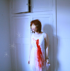 Stars... optional. Bleeding fairy. (horriblecherry) Tags: wedding red girl skull blood dress lace chiffon gore bleeding hiding scratch