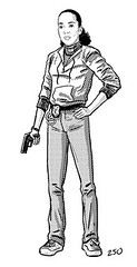 black and white drawing of Kima Greggs holding a gun. Her hair is pulled back and she is standing up straight