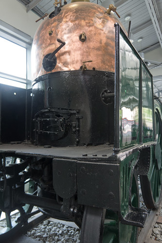 An old locomotive is on permanent display in the concourse at Kent Station since 1950