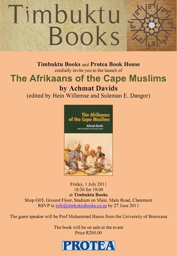 Launch of The Afrikaans of the Cape Muslims by Achmat Davids Invite
