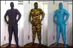 In my three zentai suits, side x side.