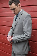 The husband rocking Hugo Boss (stephaniebodkin) Tags: learning newphotographer newbie canon red grey hugoboss suit love husaband