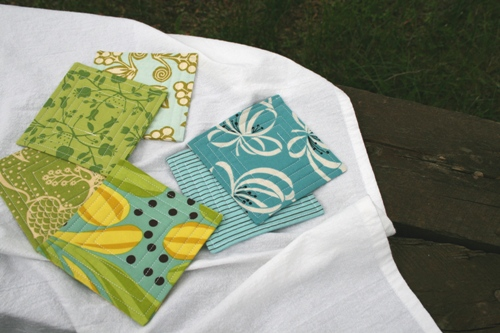 green/blue fabric coasters